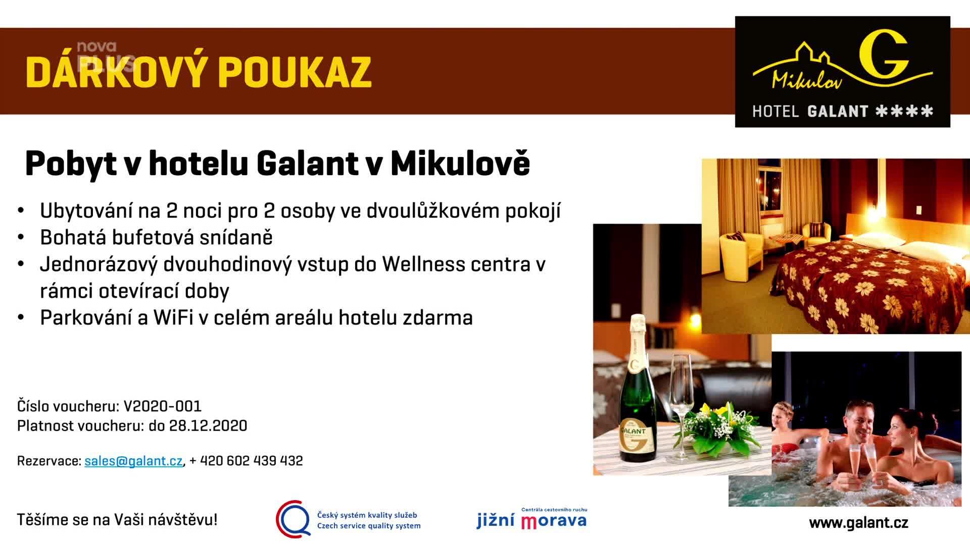 Vyhrajte romantický pobyt pro 2 osoby na dvě noci v Hotelu Galant v Mikulově!